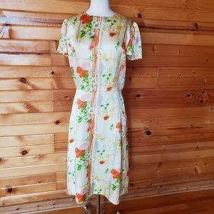 1960s Unlabeled Silk Floral Dress